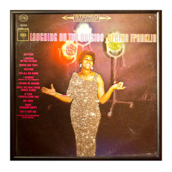 """Glittered Aretha Franklin Laughing on the Outside Album - Glittered record album. Album is framed in a black 12x12"""" square frame with front and back cover and clips holding the record in place on the back. Album covers are original vintage covers."""