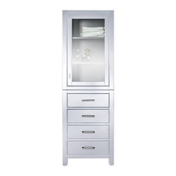 Avanity - Avanity Modero 24-in. Linen Tower - White Finish - MODERO-LT24-WT - Shop for Bathroom Etageres Racks and Space Savers from Hayneedle.com! Your linens are moving on up to a de-luxe apartment in the sky when they finally get a piece of the Avanity Modero 24-in. Linen Tower - White Finish. It doesn't rhyme with pie but you won't mind when you get to store your fine linens in this stunning cabinet. This tall storage piece is built using solid poplar that has an exterior of high-quality poplar veneers finished in snowy white. The upper storage area features a trio of open shelves behind a glass door and below you'll have three pull-out drawers for additional storage. Both the drawers and door open on smooth-pulling hardware with an antique brass finish.About Avanity CorporationAvanity's goal has always been to provide the public with the best products possible at the fairest prices. To this end their customer service style is about listening to their customer not just hearing them. Avanity is confident in their products ensuring each of them has a one-year manufacturer's warranty. Avanity also takes note of increasing market trends to stay ahead of the game and provide the most cutting-edge products available.