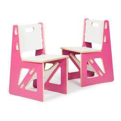 Quark Enterprises - Kids Chairs (2 Pack), Pink/White - It's a welcome relief for most eco-minded folks to invest in kids furniture that's not plastic. These chairs are solid and surprisingly easy to assemble. And you'll love mixing and matching these pieces with other Sprout products.