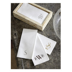 Ballard Designs - Monogrammable Guest Towels - Set of 50 - Coordinates with our Bunny Williams Guest Towel Holders. Also great for wedding receptions or dinner parties. Same paper linens found in top 5-star hotels. Made in the USA. These will come in handy for all of your holiday entertaining without the hassle of laundering. Guest Towels are made of an absorbent air-laid paper for a soft, linen-like finish and luxurious feel. They come customized with a foil-stamped monogram or single initial in your choice of 2 fonts and 3 colors.Monogrammable Guest Towels features:. . . . *Monogramming available*Allow 2 to 3 weeks for monogramming plus shipping time.*Please note that personalized items are non-returnable.