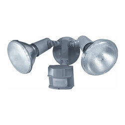 Heath Zenith - Heath Zenith SL-5411-GR-C 2 Light 150 Degree Motion Activated Twin Flood Securit - Heath Zenith SL-5411-GR-C 2 Light 150 Degree Motion Activated Twin Flood Security Light, Gray FinishProviding safety and peace of mind, the Heath Zenith SL-5411-GR features full state of the art 150-degree motion detection up to 60 foot with a sturdy metal housing for durability. Uses two 120 watt max PAR38 flood bulbs (not included). California Title 24 compliant.Heath Zenith SL-5411-GR-C Features: