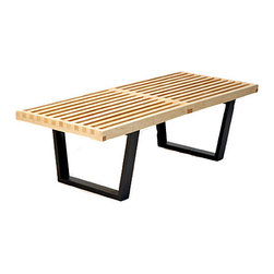 IFN Modern - Nelson Platform Style Bench - George Nelson designed the 2 seat version 'George Nelson bench' in the 1940s. George Nelson attended Yale University for architecture. He went on starting his career in several different areas of designs, such as interior design, product design, furniture design, and graphic design.  This beautiful reproduction has a solid natural hardwood top and 3 coats of UV cured polyurethane finish.