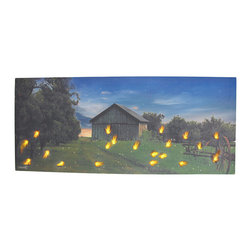 Country Farm at Dusk Flickering LED Lightning Bugs Wall Hanging - This lovely canvas depicts a country farm at dusk with fireflies dotting the landscape. With the flip of a switch, the fireflies flicker and glow, bringing life to the picturesque scene. It measures 28 inches long, 12 inches tall, 3/4 of an inch thick, and has 2 hanging slots cut into the wooden frame so it easily mounts to any wall. The flickering lights are powered by 2 AA batteries (not included), are controlled by an inconspicuous on/off switch on the side of the canvas, and unsightly wires are concealed and contained by the vinyl backing. This piece is a lovely accent in bedrooms, living rooms, and dining rooms, and makes a wonderful gift for a friend.