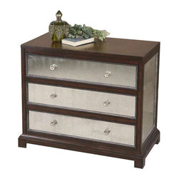 Uttermost Jayne Mirrored Accent Chest - Deep espresso with antiqued mirrored drawers and side panels, accented by carved moldings and polished nickel drawer pulls. Deep espresso with antiqued mirrored drawers and side panels, accented by carved moldings and polished nickel drawer pulls.