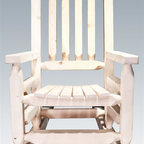 Montana Woodworks - 20 in. Children Rocker - Full sized rockers. High quality materials. Superior, mortise and tenon joinery. Hand crafted. Timbers and trim pieces. Sawn square for rustic timber frame design. Heirloom quality. Durable build, fit and finish. Made from American solid grown wood and lodge pole pine. Ready to finish. Made in USA. No assembly required. Seat height: 12 in.. Armrest: 14 in.. Overall: 20 in. W x 26 in. D x 31 in. H (18 lbs.). Ready to finish. WarrantyThis smaller, child's size version of our extremely popular log rocking chair, is just the right size for your children, grandchildren or younger friends and family. This rocker will be in the family for generations to come. Constructed with the same careful attention to detail.