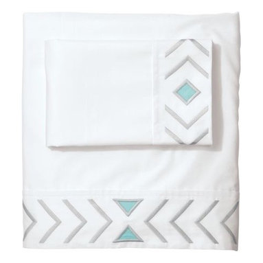 Serena & Lily - Cloud/Aqua Canyon Sheet Set - The shape of a feather (abstracted and made graphic) is the design icon of our embroidered sheet set. On crisp white, it adds the perfect pop of interest and pairs well with a multitude of colors and patterns.