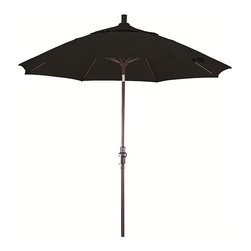 None - Fiberglass 9-foot Pacifica Midnight Black Crank and Tilt Umbrella - Get together with family and friendsSocialize without fear of sun or rain with this midnight black tilt umbrella,perfect for any patio table that takes an umbrella. It is fade-resistant,sturdy,and weatherproof.