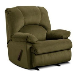Chelsea Home Furniture Charles Rocker Recliner - The Chelsea Home Furniture Charles Rocker Recliner offers classic style and superior comfort. Expertly constructed of solid hardwood, with reinforced corners for additional strength, this traditional recliner features plush padding supported by a core of high-density foam. Built for durability, it is upholstered in 100% polyester fabric that's easy to clean and maintain. About Chelsea Home FurnitureProviding home elegance in upholstery products such as recliners, stationary upholstery, leather, and accent furniture including chairs, chaises, and benches is the most important part of Chelsea Home Furniture's operations. Bringing high quality, classic and traditional designs that remain fresh for generations to customers' homes is no burden, but a love for hospitality and home beauty. The majority of Chelsea Home Furniture's products are made in the USA, while all are sought after throughout the industry and will remain a staple in home furnishings.