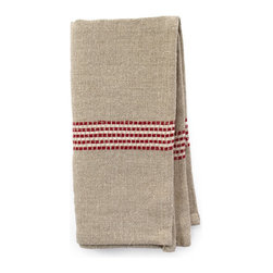 "Bambeco Saint Malo Linen Napkin in Red 17"" x 17"" - Set a simply elegant table with the Saint Malo Linen Napkin in Red woven from 97% linen/3% cotton blend for the ultimate in softness, strength, and excellent drape. Simple red and white stripes accent the natural colored linen that will just get softer and more luxurious feeling with use. The collection includes two sizes of tablecloth and matching, generously sized napkins. Linen may be one of the oldest textiles in the world, dating back to approximately 8,000 BC. It comes from the flax plant and is the strongest of the vegetable fibers; it's also one of the most eco-friendly. Growing flax doesn't deplete the soil and requires very little fertilizer to grow. Linen is highly absorbent and easily dyed; the color will not fade with washings.  Care: Machine wash warm, tumble dry   Dimensions: Saint Malo Linen Napkin in Red – 17""W x 17""L"