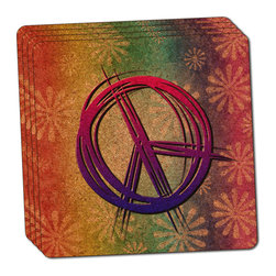 """Made on Terra - Hippie Peace Signs and Flowers Thin Cork Coaster Set of 4 - You're just cleaning up after your epic party when you realize it... something's different. Unlike all those other times, you're not mopping up cup condensation from your counters and tables. This time, everyone used a coaster. Everyone. Maybe it's because you handed out a coaster with every glass. No. You've tried that before. No, this time it's because of the actual coasters. You found the cutest Made On Terra printed cork coasters. You love that everyone commented on how unique they were,  from the light-weight, thin cork material to the printing that creates a cool and subtle effect. Plus, they're really absorbent, but dry quickly. And they're made from an eco-friendly, sustainable resource, so that makes you feel pretty great, too. Choose from Made on Terra's many fabulous cork coasters. Measures 4"""" x 4"""" x 1/8"""". Made of thin cork. Super cute and nicely absorbent. Sold in sets of four."""