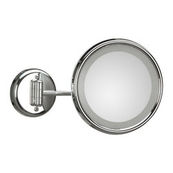 WS Bath Collections - Lucciolo 21-1 Magnifying Mirror 3x with Incandescent Lamp - Lucciolo 21-1 x3 by 9.5 Dia. x 12.2 Extension Magnifying Mirror, with Incandescent Lamp, External Power Supply with Plug, in Chromed Plated Brass and Anodized Varnished