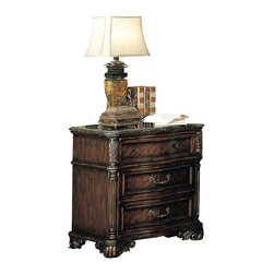 Yuan Tai - Fabiana Nightstand w Marble Top - Nightstand Traditional style. Resin carvings. Three dovetailed drawers. Scrolled feet. Warranty: Six months limited. Made from solid hardwoods and wood veneers. Dark cherry finish. No assembly required. 32 in. W x 20 in. D x 32 in. H (101.2 lbs.)