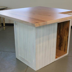 Small kitchen island from reclaimed oak - Made by http://www.ecustomfinishes.com