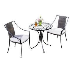 Home Styles - Home Styles Marble Bistro Table & 2 Chairs in Black & Gray - Home Styles - Patio Bistro Sets - 5605340 - 3PC Bistro Set Includes Outdoor Dining Table & Two Laguna Arm Chairs. The Bistro Table features a table top constructed of natural octagon marble tiles with black square marble tile accents; trimmed in a rectangular and square black marble tile ring.  The cabriole designed base is constructed of aluminum in a Black finish.  Adjustable nylon glides prevent damage to surfaces caused by movement and provide stability on uneven surfaces.  Size:  28��� Diameter x 30��� Height. The Laguna Arm Chair features a two-tone Walnut Brown synthetic-weave seat and back over an aluminum frame in a Black finish with tie-attachment Taupe cushions.  The synthetic-weave is both moisture and weather resistant and requires very little maintenance.  Adjustable nylon glides prevent damage to surfaces caused by movement and provide stability on uneven surfaces.  Seat height measures 18���.  Arm height measures 22.75���. All Homes Styles outdoor casual dining chairs are sold two per pack and are designed to stack for easy storage. Size:  23.25 x 22.25 x 36