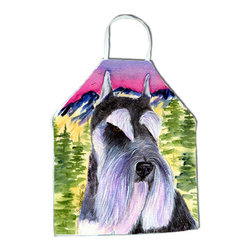 Caroline's Treasures - Schnauzer Apron SS8340APRON - Apron, Bib Style, 27 in H x 31 in W; 100 percent  Ultra Spun Poly, White, braided nylon tie straps, sewn cloth neckband. These bib style aprons are not just for cooking - they are also great for cleaning, gardening, art projects, and other activities, too!