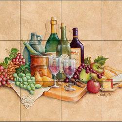 The Tile Mural Store (USA) - Tile Mural - Wine Time - Rb - Kitchen Backsplash Ideas - This beautiful artwork by Rita Broughton has been digitally reproduced for tiles and depicts wine bottles, wine glasses, cheese, grapes and fruit  Our decorative tiles with wine are perfect to use for your kitchen backsplash tile project. A wine tile mural adds elegance and interest to your kitchen wall tile area and makes a wonderful kitchen backsplash idea. Pictures of wine on tiles and images of wines bottles on tiles and wine glasses on tiles is timeless and these decorative tiles of wine blend with any decor. Your kitchen will come to life with a tile mural featuring wine.