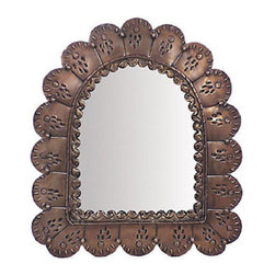 Mexican Artisans - Copper Tone Punched Tin Arched Petal Mirror - Indeed Decor's Copper Tin Arched Mirror offers a South of the Border casual or Spanish Colonial elegance for your living room, dining room, bedroom, bathroom, entry or patio.