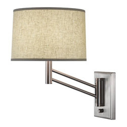 "Robert Abbey - Wall Sconce in Satin Nickel - Features: -One light wall sconce. -Satin nickel finish over steel. -Switch: Hi - Lo. -24"" Cord cover. -Open weave heather linen shade. -Direct wire. Specifications: -Accommodates (1) 100W A type bulb. -Overall height: 13.25""-17"". For more information on this product please view the Specification Sheet(s) below: Specification Sheet"