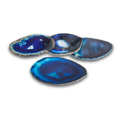Pedra Coasters - Azure - Place a locus of rich oceanic blue in your living room with the cobalt and royal hues found in the Azure Pedra Coasters.  These elegant natural-gemstone pieces are dyed to rich colors that emphasize the natural striking and banding found in deposits of the mineral agate, popular since ancient times to bring touches of the world's wonder into an interior where lively pattern is key.  A faint gloss conveys upscale luxury.