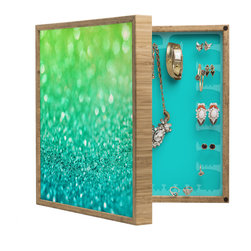 DENY Designs - Lisa Argyropoulos Sea Breeze BlingBox Petite - Handcrafted from 100% sustainable, eco-friendly flat grain Amber Bamboo, DENY Designs BlingBox Petite measures approximately 15 x 15 x 3 and has an exterior matte cover showcasing the artwork of your choice, with a coordinating matte color on the interior. Additionally, the BlingBox Petite includes interior built-in clear, acrylic hooks that hold over 120 pieces of jewelry! Doubling as both art and an organized hanging jewelry box, It's bound to be the most functional (and most talked about) piece of wall art in your home! Custom made in the USA for every order.