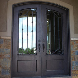"""3/4 Lite Arch Top Double Door - 72"""" x 96"""" Hand Rubbed Bronze with clear glass"""
