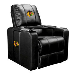 Dreamseat Inc. - Chicago Blackhawks NHL Home Theater Plus Leather Recliner - Check out this awesome Leather Recliner. Quite simply, it's one of the coolest things we've ever seen. This is unbelievably comfortable - once you're in it, you won't want to get up. Features a zip-in-zip-out logo panel embroidered with 70,000 stitches. Converts from a solid color to custom-logo furniture in seconds - perfect for a shared or multi-purpose room. Root for several teams? Simply swap the panels out when the seasons change. This is a true statement piece that is perfect for your Man Cave, Game Room, basement or garage. It combines contemporary design with the ultimate comfort from a fully reclining frame with lumbar and full leg support.