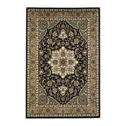 Cambridge 7327 Black/Beige Kashan Medallion Rug - Our Cambridge Series is machine-woven in China of heat-set polypropelene. This line features a current color palette in classic and transitional patterns providing a well-designed and durable rug at a very affordable price point. No fringe.
