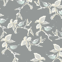 Walls Republic - Dwell Grey Wallpaper R2319, Double Roll - Dwell is a traditional Asian bird pattern with branch, leaf, and bird imagery. With a subtle metallic sheen it will add the perfect traditional touch to your entryways, hallways, and living rooms. In a range of bold to subtle colours Dwell can create a st