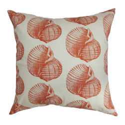 "The Pillow Collection - Bahari Aquatic Pillow Persimmon - This pretty accent pillow will transform your space into a tropical haven. Sea lovers will surely love the aquatic animal pattern which adorns this square pillow. This accent pillow features shades of persimmon orange and white color palette. Incorporate other sea-inspired patterns from our collection for a unique decor style. This 18"" pillow is American-made and uses 100% high-quality cotton material. Hidden zipper closure for easy cover removal.  Knife edge finish on all four sides.  Reversible pillow with the same fabric on the back side.  Spot cleaning suggested."