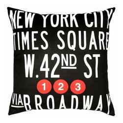 "Uptown Artworks - Times Square Pillow - Features: -Material: Natural cotton / linen. -We recommend spot-cleaning or wash in cool water with phosphate-free detergent. -Zipper closure, plush feather and down insert. -Made in the United States. -Eco-friendly. -Overall dimensions: 20"" H x 20"" W, 2 lbs."