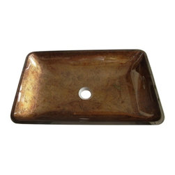 Kingston Brass - Fauceture Antique Copper Roma Rectangular Glass Vessel Sink EVR2214FB - With warm and rich colors, the Bologna vessel sink will be a welcome addition to any home bathroom. The salmon hued droplets highlight this sink and coordinate beautifully with the amber and gold colors. Unique patterns formed within the glass make each piece different and unique. This gorgeous vessel sink will pair well with a variety of home decor styles. Sink is crafted from high quality tempered glass and utilizes standard sink drains.Manufacturer: Kingston BrassModel: EVR2214FBUPC: 663370313622Product Name: Fauceture EVR2214FB Roma Rectangular Antique Copper Glass Vessel SinkCollection / Series: FaucetureFinish: Antique CopperTheme: ClassicMaterial: GlassType: SinkFeatures: Crafted from high quality tempered glass