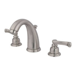 """Kingston Brass - Two Handle 8"""" to 16"""" Widespread Lavatory Faucet with Retail Pop-up KB988FL - Two Handle Deck Mount, 3 Hole Sink Application, 8"""" to 16"""" Widespread, 3 hole 8"""" to 16"""" center spread installation, Fabricated from solid brass material for durability and reliability, Premium color finish resists tarnishing and corrosion, 1/4 turn On/Off water control mechanism, 1/2"""" IPS male threaded inlets with rigid copper piping, Duraseal washerless cartridge, 2.2 GPM (8.3 LPM) Max at 60 PSI, Integrated removable aerator, 5-1/4"""" spout reach from faucet body, 6"""" overall height.. Manufacturer: Kingston Brass. Model: KB988FL. UPC: 663370062278. Product Name: Two Handle 8"""" to 16"""" Widespread Lavatory Faucet with Retail Pop-up. Collection / Series: Royale. Finish: Satin Nickel. Theme: Classic. Material: Brass. Type: Faucet. Features: Drip-free washerless cartridge system"""