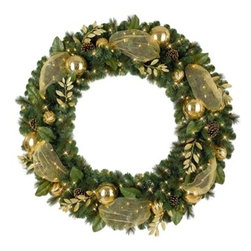 Golden Treasures Wreath - Decorated with gold ornaments, leaves, ribbon, and realistic brown pine cones, our Golden Treasures Wreath dolls up your door for the holidays. Unlit and built with flame-proof materials, it is perfect either indoors or outdoors to highlight the spirit of the season.