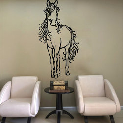 ColorfulHall Co., LTD - Jungle Animal Horse Horse-Manship Removable Home Decals - You will find hundreds of affordable peel - and - stick wall decal designs, suitable for all kinds of tastes and every room in your house, including a children's movie theme, characters, sports, romantic, and home decor designs from country to urban chic. Different from traditional decals, vinyl wall decals is with low adhesive that allows you to reposition as often as you like without damaging the paint. Application is easy: peel offer the pre-cut elements on the design with a transfer film, and then apply it to your wall. Brighten your walls and add flair to your room is just as easy.