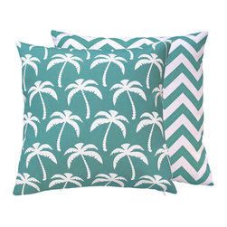 Chloe & Olive - Palm Tree Outdoor Throw Pillow, 18x18, Turquoise - Add this collection to your outdoor decor to easily create a tropical oasis! This collection will withstand direct sunlight for up to 500 hours making them both durable and versatile, perfect for your outdoor settings and indoor living in sunny rooms.