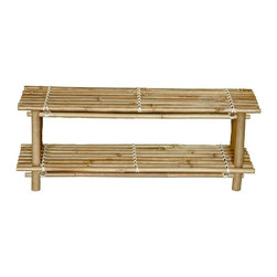 "Bamboo54 - Bamboo Shoe Rack Knock Down - The price is for two shoe racks as they are boxed by 2's. This bamboo shoe rack measures 12"" H x 31""L x 11"" D and can hold up to 8 pairs of men's shoe and 10 of women shoes. Simple yet functional, its does what it was intended to do but with a bit of care free tropical flair. Some assembly required but typically sets up in seconds."
