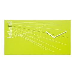 Progetti - TimeLine 1820 Green Wall Clock - Wall clock in painted wood. Battery quartz movement.