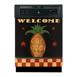 Appliance Art - Appliance Art 'Pineapple Folk Art' Dishwasher Cover - Give your dishwasher a facelift with this decorative dishwasher cover. The cover, done in traditional folk-art style, sports a pineapple said to bring good luck. It attaches magnetically or with adhesive strips so you can change it on a whim.