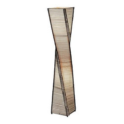 "Adesso - Adesso 4046 Stix Floor Lantern - Adesso 4046 Tropical / Safari Stix Floor LanternThe frame of each Stix lamp in this collection is a twisting black metal tower. On either side of each corner a thin vertical cane rod is connected to the frame top and bottom. Thin black cane sticks are stacked and woven on each end to those vertical rods, resulting in the appearance of a stick tower. The interior is lined with a fabric-like beige paper and the whole thing stands on four ball feet adorning each corner. Specifications: Foot step switch. Takes 2 x 60 Watt Bulbs. Overall Measurements: 50"" Height x 9"" SquareAdesso was established in 1994 based on the belief that there was an under-served niche among consumers who sought high-end, contemporary home products at moderate prices. Since then, Adesso has not only revolutionized the home industry with its innovative products, but also gained substantial recognition for its well-designed and well-priced lamps and RTA furniture. From the onset, when Adesso first introduced its lighting products, an array of colors and materials were utilized in the design, including metals, rice-paper, woven fabric, glass, resin, renewable bamboo wood and cork! These materials help make every Adesso product beautifully unique, adding a perfect touch to any home.Features:"