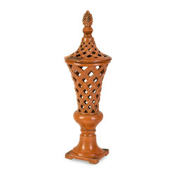 Large Rustic Orange Cutwork Vase - *A coral rustic finish highlights the large handcrafted Abner vase which is hand cut and finished by an artisan to ensure fabulous details with a bit of authenticity.