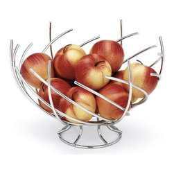Crown Fruit Basket - Crown Fruit Basket features contemporary design with chrome plated wire construction.