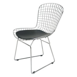 Nuevo - Wire Dining or Accent Chair, Chrome With Black Cushion - Nuevo Living is a premier manufacturer of high quality modern furniture and decor. Nuevo Specializes in wonderful original designs, high quality interpretations of modern classics, designer decorating items, and specialty lighting. Creating a modern home environment is easy with Nuevo Modern Designs.