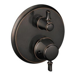 """Hansgrohe - Hansgrohe 04221920 Rubbed Bronze C C Thermostatic Valve Trim with - C Thermostatic Valve Trim with Volume Control, Diverter and Metal Lever Handles Less ValveThermostatic temperature controlVolume control and diverter for 2 outletsAnti-scald 100-degree safety stopFlow rate 8 GPM @ 44 PSISet your preferred water temperature7/8"""" shallow extension set 13596 (sold separately)Requires iBox Universal Plus rough #01850181"""