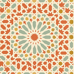 Nasrid Palace Mosaic, Persimmon - This wallpaper features a Moroccan star pattern that looks like a beautiful tiled wall.