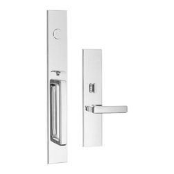 Door Hardware: Entrance Sets - Classic Brass Fifth Avenue Thumb Grip x Lever Entry Set. Available in other finishes!
