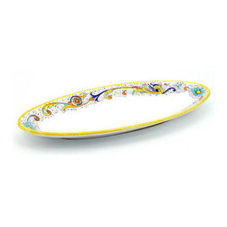 Artistica - Hand Made in Italy - Raffaellesco: Oval Fish Platter - Raffaellesco Collection: Among the most popular and enduring Italian majolica patterns, the classic Raffaellesco traces its origin to 16th century, and the graceful arabesques of Raphael's famous frescoes.