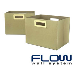 Flow Wall Systems - Flow Wall Decor Jumbo Collapsible Olive Storage Bins (Set of 2) - These Flow Wall Decor collapsible storage bins make organization easy. Their fold-flat design allows for maximum flexibility and they can be combined with Flow Wall Decor storage cubes to create a custom storage solution for your needs.