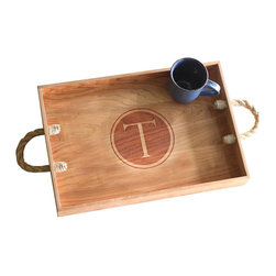 Monogram Design Wood Serving Tray, Cherry, H - This personalized, rustic serving tray is great for those who want to host and serve in style! Handmade from solid cherry or maple wood, this tray was crafted with care - from the design of the monogram letter, to the unique rope handles! Perfect as a kitchen table centerpiece, living room accessory, guest bedroom addition or gift for loved ones!