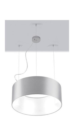 Zaneen - Cyclos 5-Light Suspension Pendant in Silver - Requires five 18 watt compact fluorescent biax G24q2 base T4 bulbs. 120 V AC voltage supply. Modern style. Energy efficient. Opal white acrylic diffuser. North American standard certified. cCSAus safety approved. Outer body made from white or silver gray powder coated aluminum. Inner diffuser made from glossy opaline methacrylate. Made in Italy. 23.75 in. Dia. x 56.5 in. H