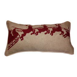 "Crewel Fabric World - Sleigh Bell Crewel Embroidered Lumbar Pillow - Victorian cut-paper silhouettes, with their crisp lines and intricate details, inspired the merry scene embroidered on our pillow. Red sleigh bells jingle at the corners. 12 x 24"" Pure cotton. Reverses to solid. Hand made in Kashmir"